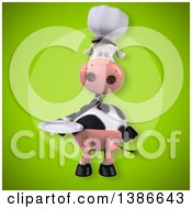 Clipart Of A 3d Chef Cow On A Green Background Royalty Free Vector Illustration