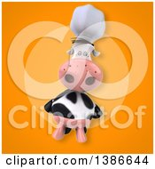 Clipart Of A 3d Chef Cow On An Orange Background Royalty Free Vector Illustration