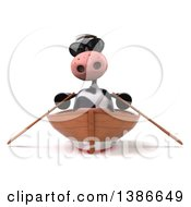 Clipart Of A 3d Cow Rowing A Boat On A White Background Royalty Free Vector Illustration
