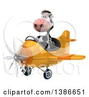 Clipart Of A 3d Cow Aviator Pilot Flying An Airplane On A White Background Royalty Free Vector Illustration