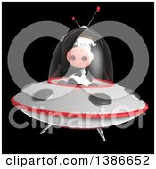 Clipart Of A 3d Cow Flying A Ufo On A Black Background Royalty Free Vector Illustration