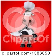 Clipart Of A 3d Chef Cow Holding A Plate Over A Red Background Royalty Free Illustration