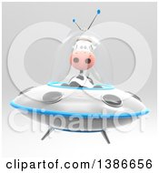 Clipart Of A 3d Cow Flying A Ufo Royalty Free Illustration