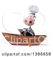 Clipart Of A 3d Cow Chef Rowing A Boat On A White Background Royalty Free Illustration