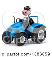 Clipart Of A 3d Cow Farmer Operating A Tractor On A White Background Royalty Free Illustration