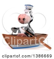 Clipart Of A 3d Cow Sailor Rowing A Boat On A White Background Royalty Free Illustration