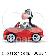Clipart Of A 3d Cow Driving A Convertible Car On A White Background Royalty Free Illustration