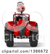 Clipart Of A 3d Cow Farmer Operating A Tractor On A White Background Royalty Free Illustration by Julos