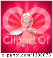 Clipart Of A 3d Pig Running With A Plate On A Pink Background Royalty Free Vector Illustration
