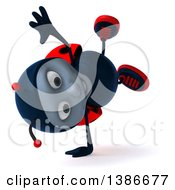 Clipart Of A 3d Happy Ladybug Cartwheeling On A White Background Royalty Free Illustration by Julos