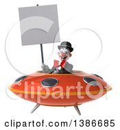 Clipart Of A 3d White And Black Clown On A White Background Royalty Free Vector Illustration