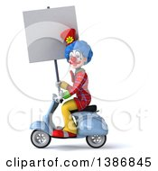 Clipart Of A 3d Colorful Clown On A Scooter On A White Background Royalty Free Illustration