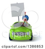 Clipart Of A 3d Colorful Clown Driving A Convertible Car On A White Background Royalty Free Illustration