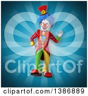 Clipart Of A 3d Colorful Clown On A Blue Ray Background Royalty Free Vector Illustration