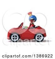 Clipart Of A 3d Colorful Clown On A White Background Royalty Free Vector Illustration