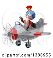 Clipart Of A 3d Colorful Clown Giving A Thumb Down And Flying An Airplane On A White Background Royalty Free Illustration