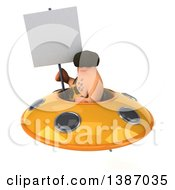 Clipart Of A 3d Caveman Flying A Ufo On A White Background Royalty Free Vector Illustration