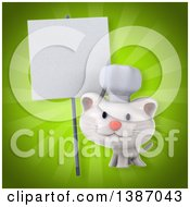 Clipart Of A 3d White Chef Kitten On A Green Background Royalty Free Illustration