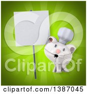 Clipart Of A 3d White Chef Cat Over Green Rays Royalty Free Illustration