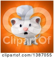 Clipart Of A 3d White Chef Cat Over Orange Rays Royalty Free Illustration