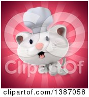 Clipart Of A 3d White Chef Cat Over Pink Rays Royalty Free Illustration