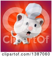 Clipart Of A 3d White Chef Cat Over Red Rays Royalty Free Illustration