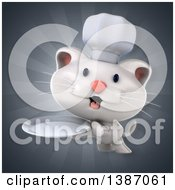 Clipart Of A 3d White Chef Cat Over Rays Royalty Free Illustration