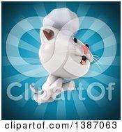 Clipart Of A 3d White Chef Cat Over Blue Rays Royalty Free Illustration