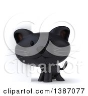 Clipart Of A 3d Black Kitten By A Sign On A White Background Royalty Free Vector Illustration