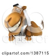 Clipart Of A 3d Arabian Doctor Camel Over A Sign On A White Background Royalty Free Illustration