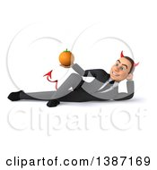 Clipart Of A 3d Young White Devil Business Man On A White Background Royalty Free Illustration