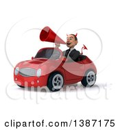 Clipart Of A 3d Young White Devil Business Man Driving A Convertible Car On A White Background Royalty Free Vector Illustration