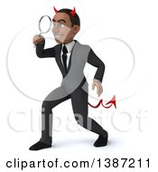 Clipart Of A 3d Young Black Devil Business Man On A White Background Royalty Free Vector Illustration