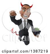 Clipart Of A 3d Young Black Devil Business Man On A White Background Royalty Free Illustration