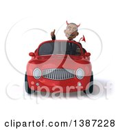 Clipart Of A 3d Young Black Devil Business Man Driving A Convertible Car On A White Background Royalty Free Vector Illustration