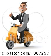 Clipart Of A 3d Young White Business Man On A Scooter On A White Background Royalty Free Vector Illustration