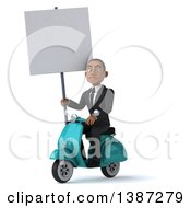 Clipart Of A 3d Young Black Business Man On A Scooter On A White Background Royalty Free Vector Illustration