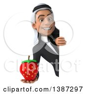 Clipart Of A 3d Young Arabian Business Man Holding A Strawberry On A White Background Royalty Free Vector Illustration