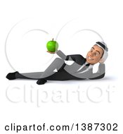 Clipart Of A 3d Young Arabian Business Man Holding A Green Apple On A White Background Royalty Free Vector Illustration
