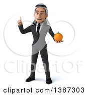 Clipart Of A 3d Young Arabian Business Man Holding An Orange On A White Background Royalty Free Vector Illustration