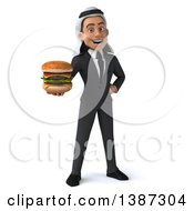 Clipart Of A 3d Young Arabian Businessman Holding A Double Cheeseburger On A White Background Royalty Free Illustration