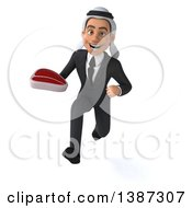 Clipart Of A 3d Young Arabian Businessman Holding A Beef Steak On A White Background Royalty Free Illustration