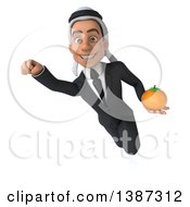 Clipart Of A 3d Young Arabian Businessman Holding An Orange On A White Background Royalty Free Illustration