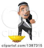 Clipart Of A 3d Young Arabian Businessman Holding A Banana On A White Background Royalty Free Illustration