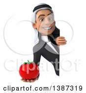 Clipart Of A 3d Young Arabian Businessman Holding A Tomato On A White Background Royalty Free Illustration
