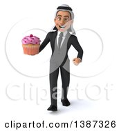 Clipart Of A 3d Young Arabian Businessman Holding A Cupcake On A White Background Royalty Free Illustration