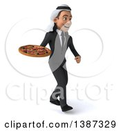 Clipart Of A 3d Young Arabian Businessman Holding A Pizza On A White Background Royalty Free Illustration