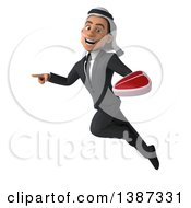 Clipart Of A 3d Young Arabian Business Man Holding A Beef Steak On A White Background Royalty Free Vector Illustration
