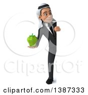 Clipart Of A 3d Young Arabian Business Man Holding A Green Bell Pepper On A White Background Royalty Free Vector Illustration