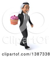 Clipart Of A 3d Young Arabian Business Man Holding A Cupcake On A White Background Royalty Free Vector Illustration